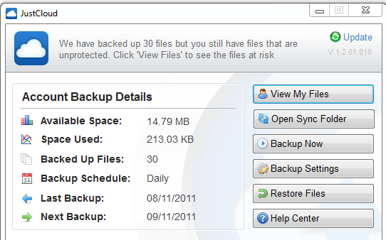 Just Cloud account backup section